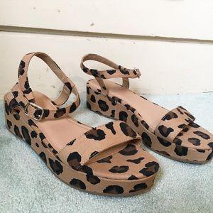 NWOT Leopard Platform Sandals